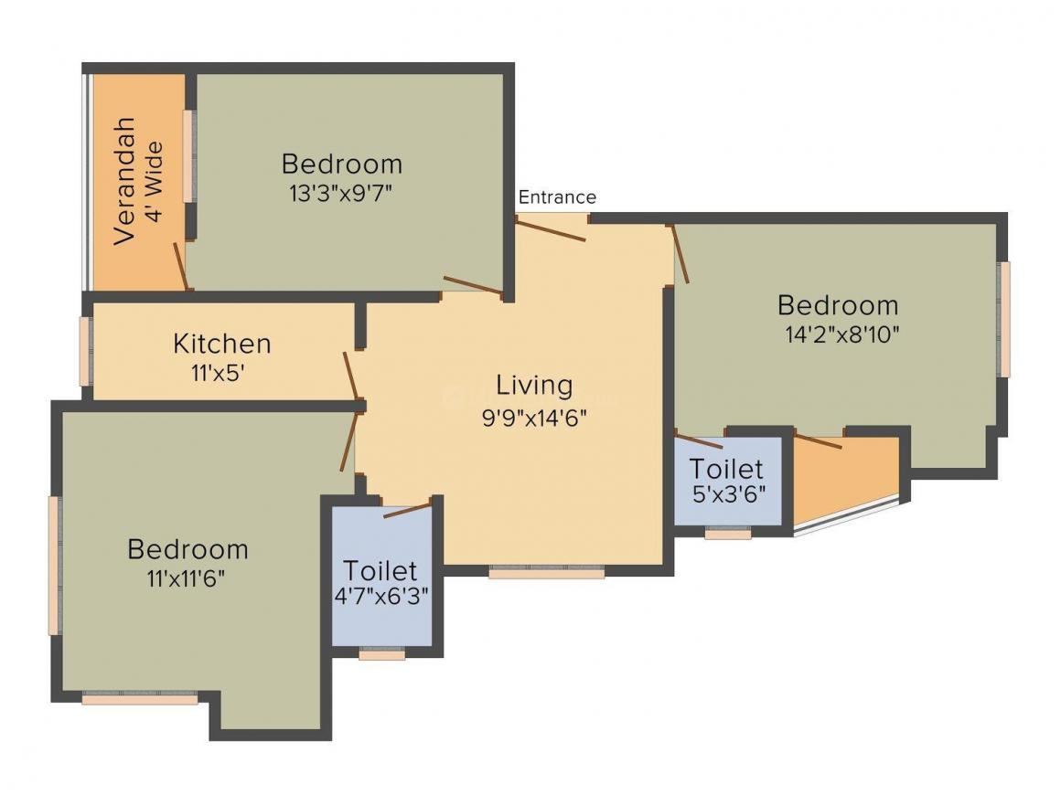 Floor Plan Image of 0 - 1125.0 Sq.ft 3 BHK Apartment for buy in Mayfair Aspire
