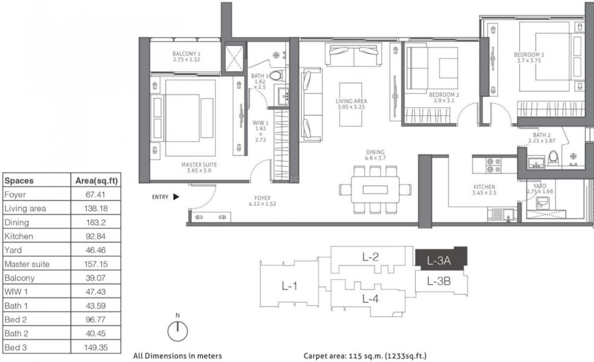 Tata Housing 88 East Floor Plan: 3 BHK Unit with Built up area of 1233 sq.ft 1