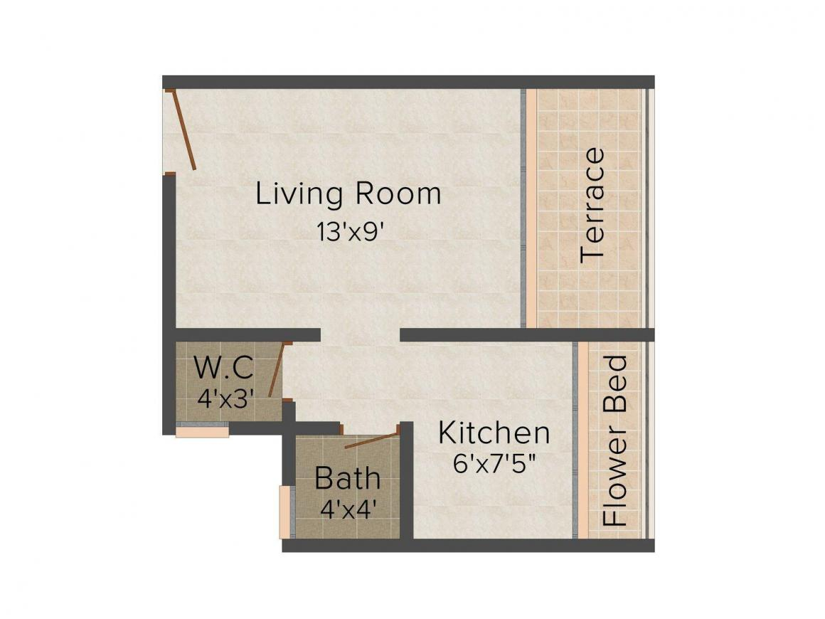 Floor Plan Image of 420 - 645 Sq.ft 1 RK Apartment for buy in Abhishek Trimurti Arcade