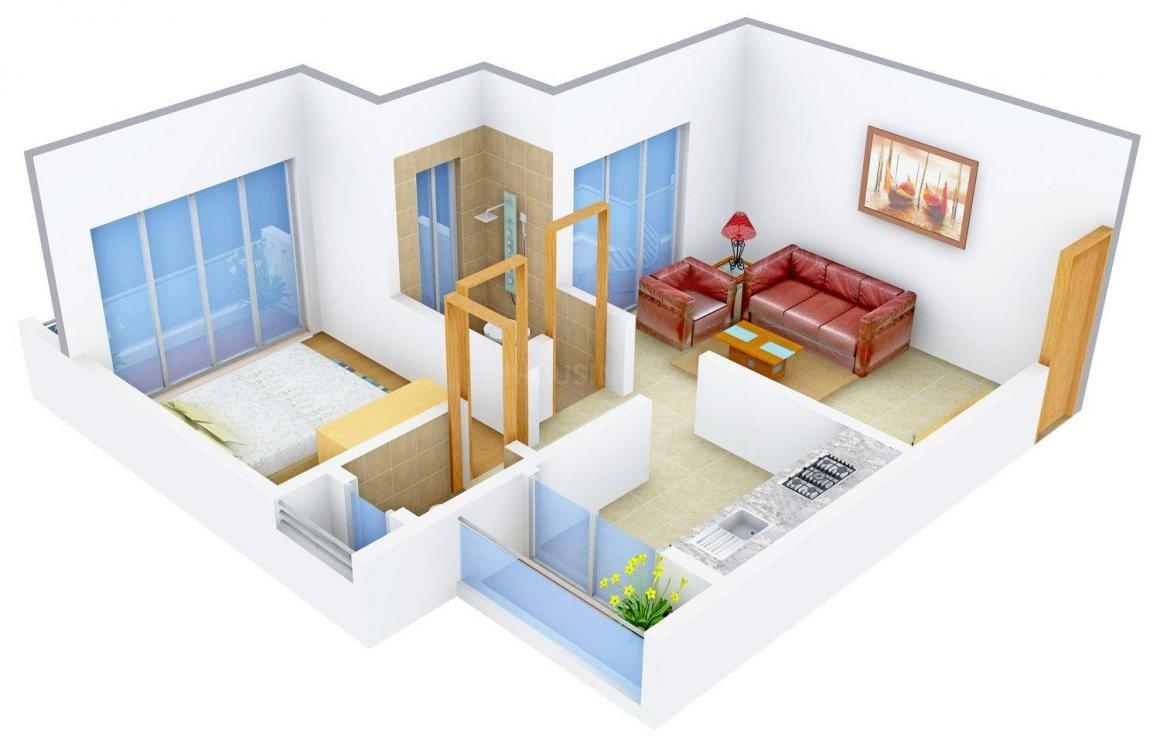 Floor Plan Image of 580.0 - 990.0 Sq.ft 1 BHK Apartment for buy in Kishor Sai puja