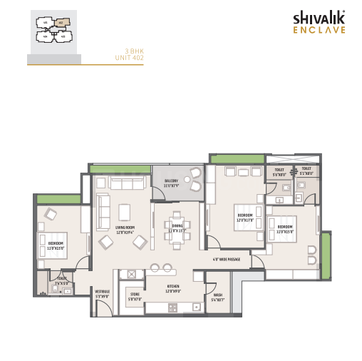 Shivalik Enclave Floor Plan: 3 BHK Unit with Built up area of 1455 sq.ft 1