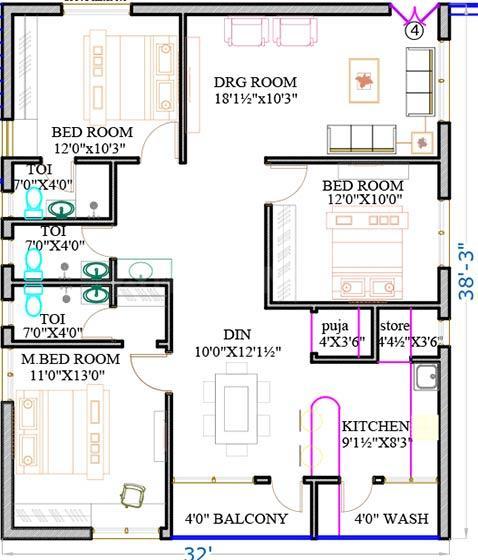 Giridhari Rajakshetra Floor Plan: 3 BHK Unit with Built up area of 1530 sq.ft 1