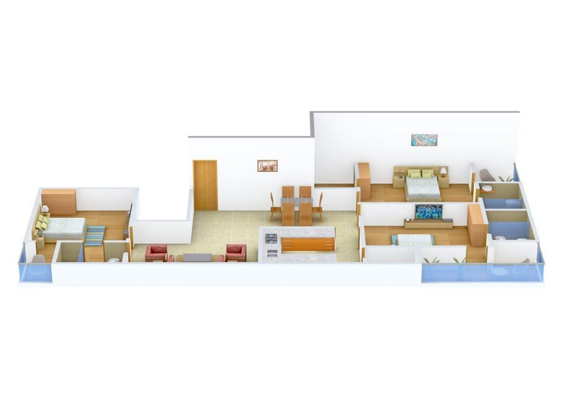 Floor Plan Image of 1590.0 - 1960.0 Sq.ft 3 BHK Apartment for buy in Pearl Grands