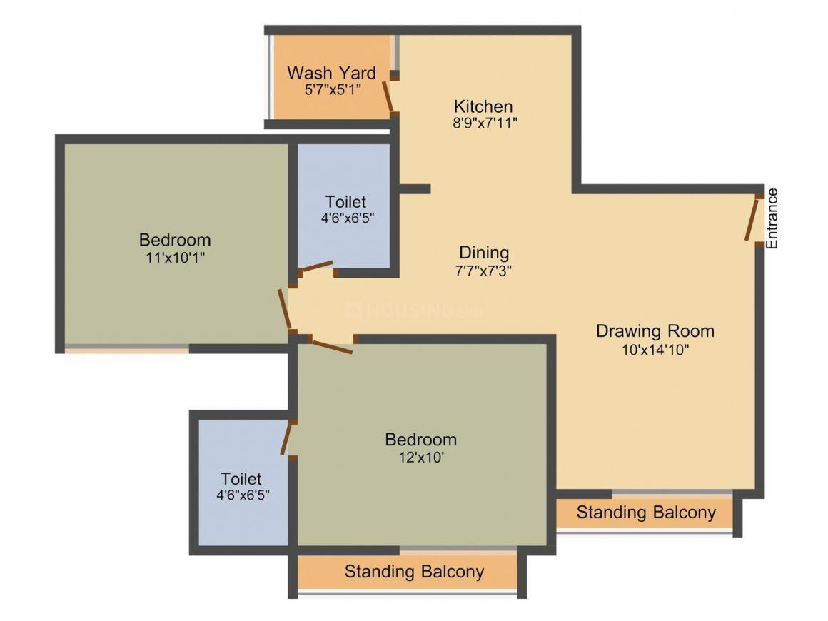 Gala Marigold Floor Plan: 2 BHK Unit with Built up area of 1076 sq.ft 1