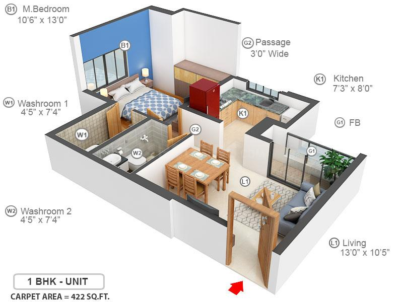 Runwal Eirene Floor Plan: 1 BHK Unit with Built up area of 422 sq.ft 1