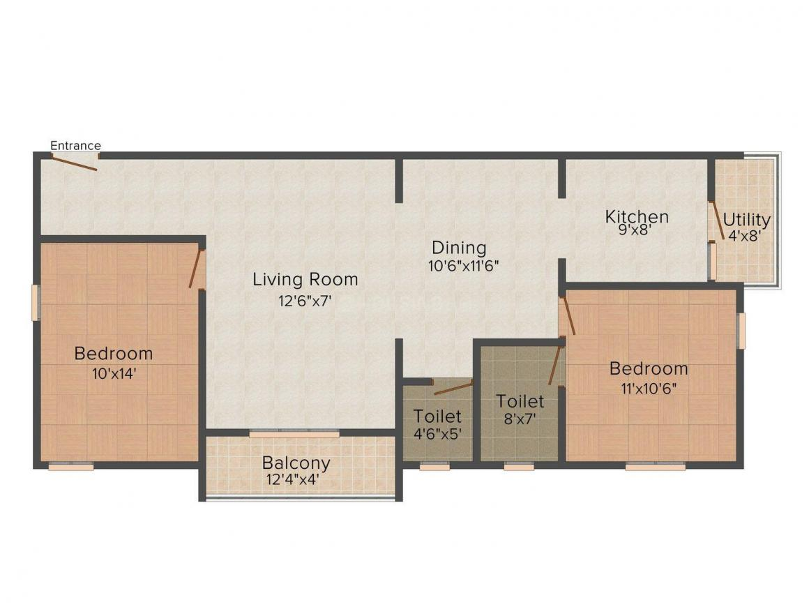 Floor Plan Image of 1110.0 - 2070.0 Sq.ft 2 BHK Apartment for buy in Pruthvi Paradise