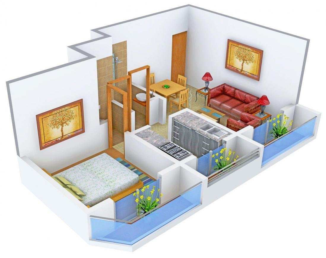 Floor Plan Image of 0 - 448.0 Sq.ft 1 BHK Apartment for buy in Sai Anant Avenue