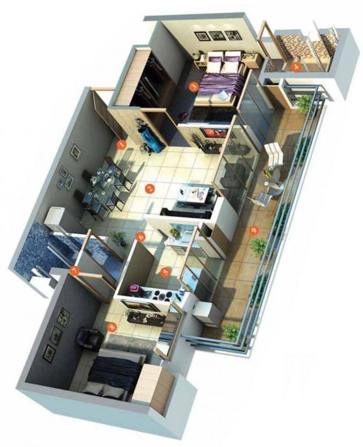 TDI Lakeside Heights Floor Plan: 2 BHK Unit with Built up area of 1170 sq.ft 1