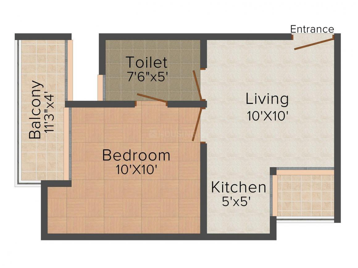 Shree Floors - 4 Floor Plan: 1 BHK Unit with Built up area of 500 sq.ft 1