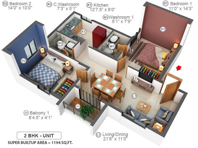 Jones Blazia Floor Plan: 2 BHK Unit with Built up area of 1194 sq.ft 1
