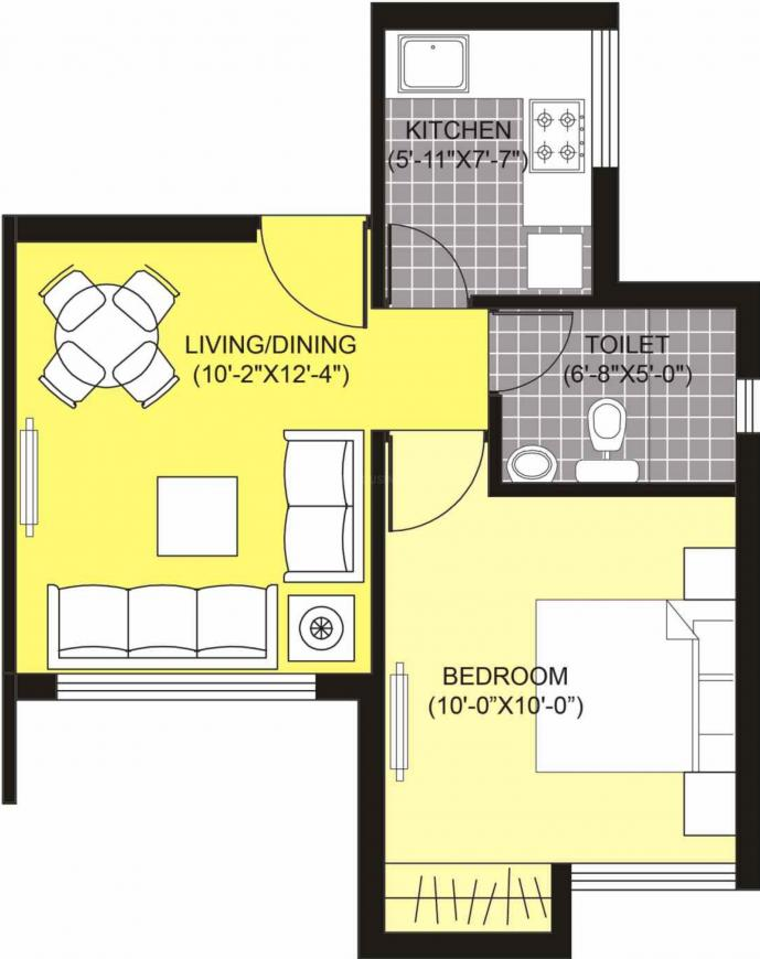 Unitech Unihomes 2 Floor Plan: 1 BHK Unit with Built up area of 460 sq.ft 1