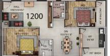 Primark Cygnus Floor Plan: 2 BHK Unit with Built up area of 1199 sq.ft 1