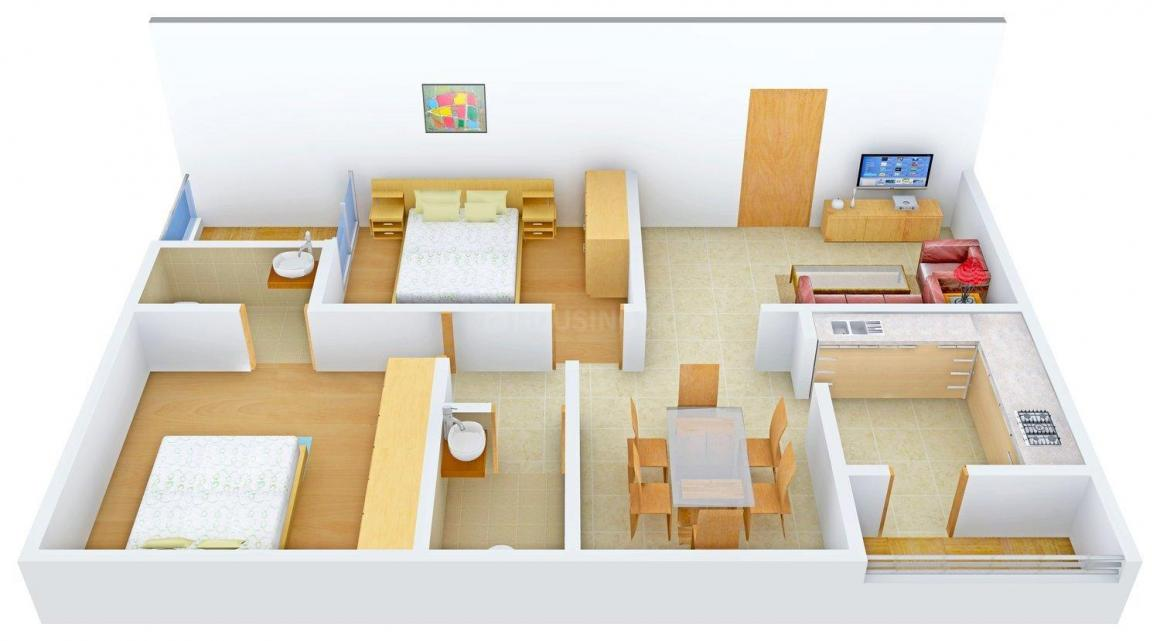 Shivahs Arcade Floor Plan: 2 BHK Unit with Built up area of 1030 sq.ft 1