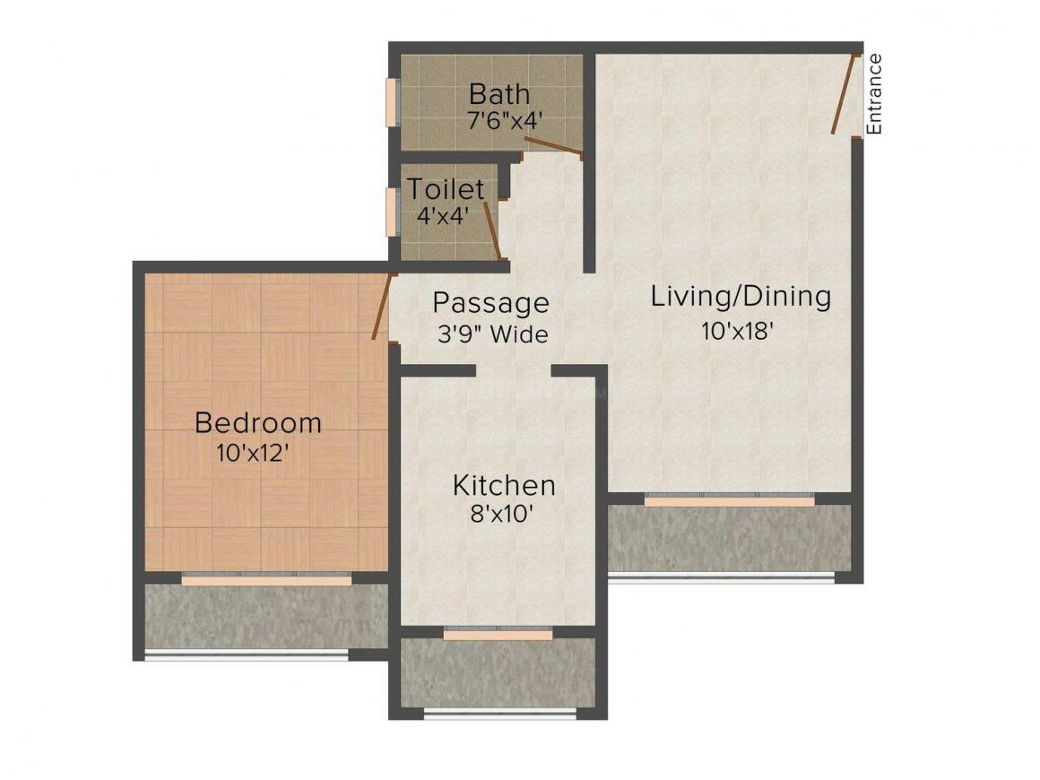 Floor Plan Image of 510 - 720 Sq.ft 1 BHK Apartment for buy in Jaydeep Paradise Park