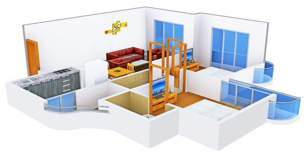 Floor Plan Image of 735.0 - 1004.0 Sq.ft 2 BHK Apartment for buy in EV Zion - II