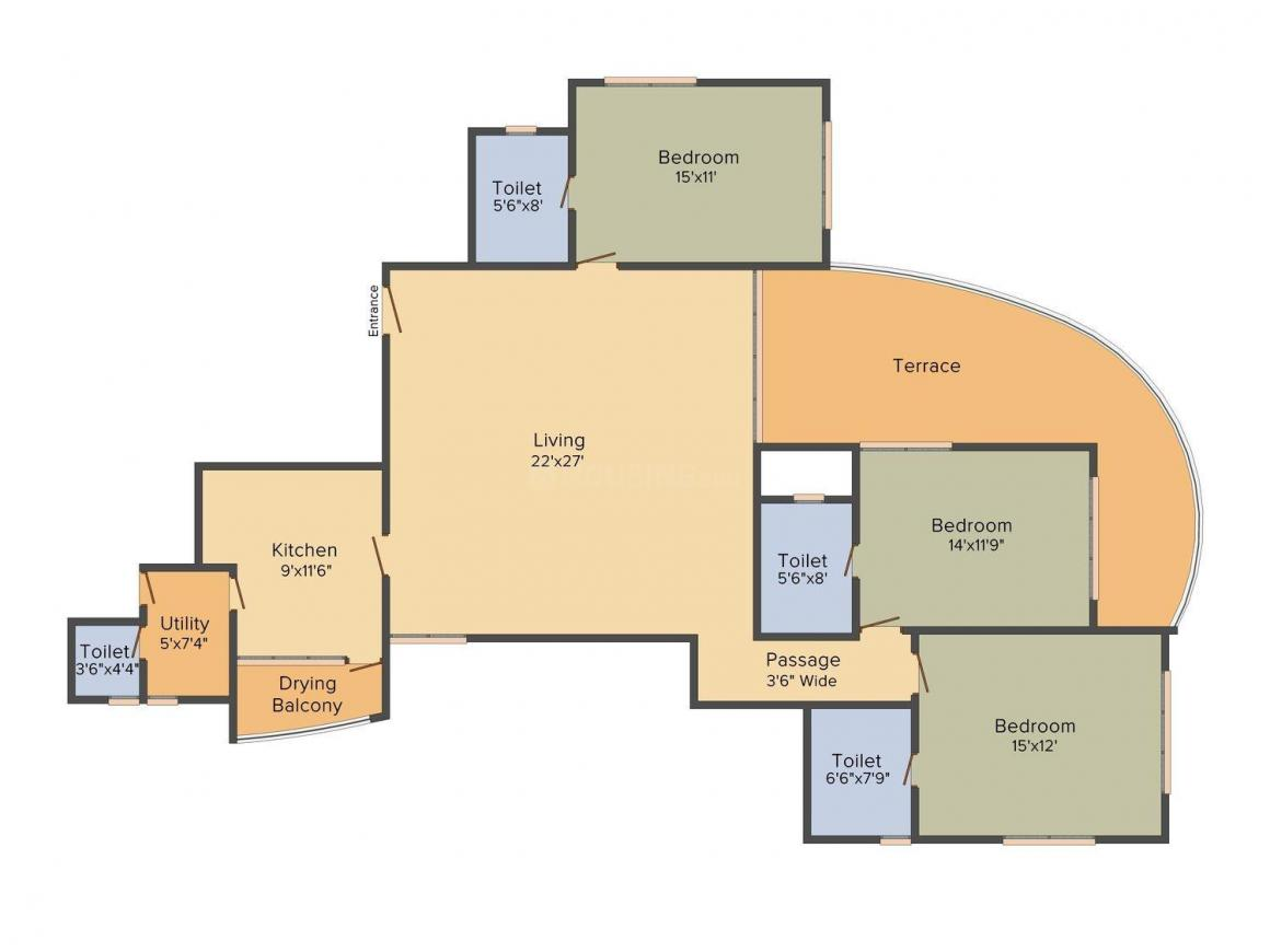 Floor Plan Image of 0 - 1550.0 Sq.ft 3 BHK Apartment for buy in Evershine Jewel