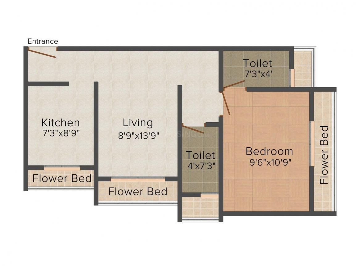 Kasam Teli Apartment Floor Plan: 1 BHK Unit with Built up area of 515 sq.ft 1