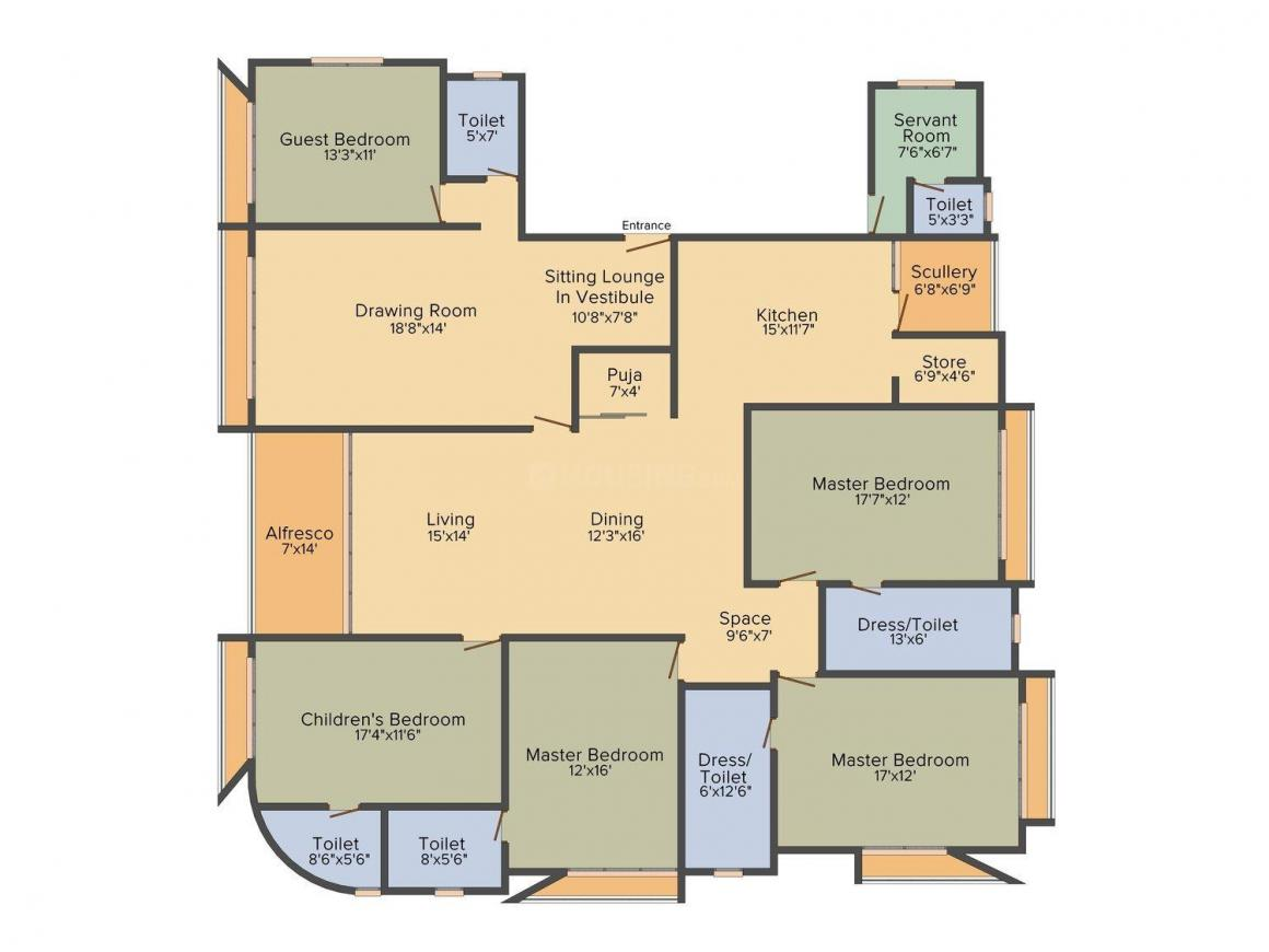 Winsome Manor Floor Plan: 5 BHK Unit with Built up area of 4500 sq.ft 1