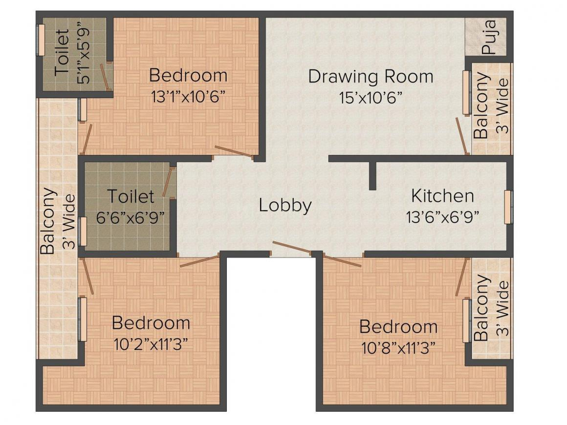 Floor Plan Image of 0 - 900 Sq.ft 3 BHK Independent Floor for buy in Aggarwal Tower - 2