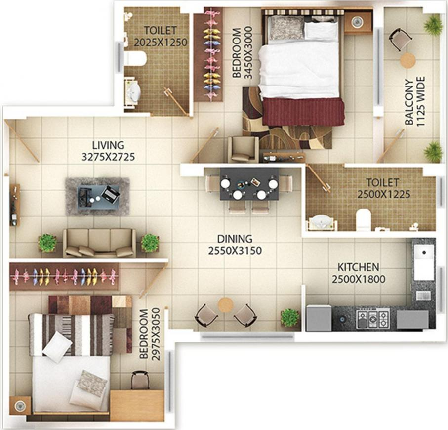 Ired Nivriti Floor Plan: 2 BHK Unit with Built up area of 806 sq.ft 1