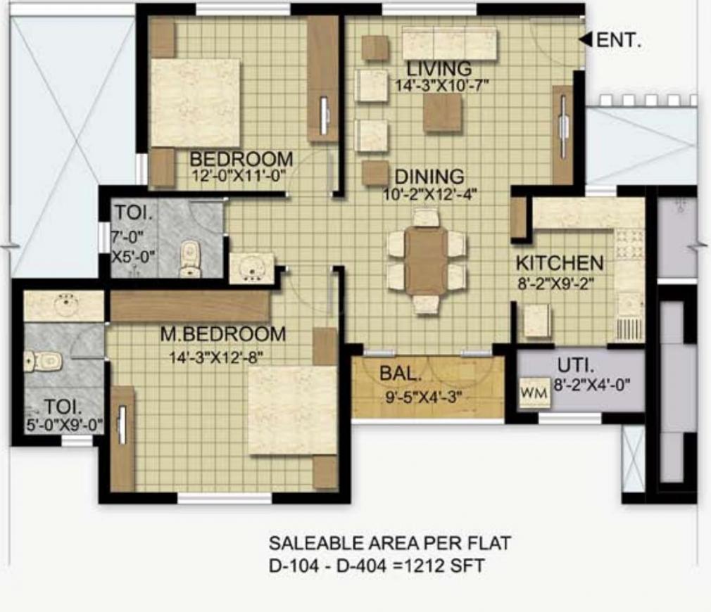 Floor Plan Image of 1184 - 1704 Sq.ft 2 BHK Apartment for buy in Landmark Ayna