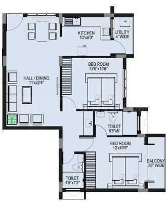 Marian Sentinel Floor Plan: 2 BHK Unit with Built up area of 950 sq.ft 1