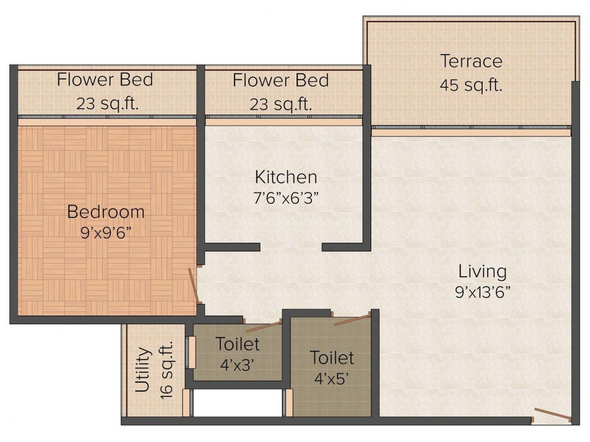 Floor Plan Image of 625.0 - 680.0 Sq.ft 1 BHK Apartment for buy in Bright Gold