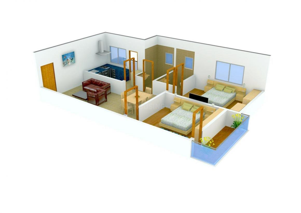 Vanamali Pearl Homes Floor Plan: 2 BHK Unit with Built up area of 1090 sq.ft 1
