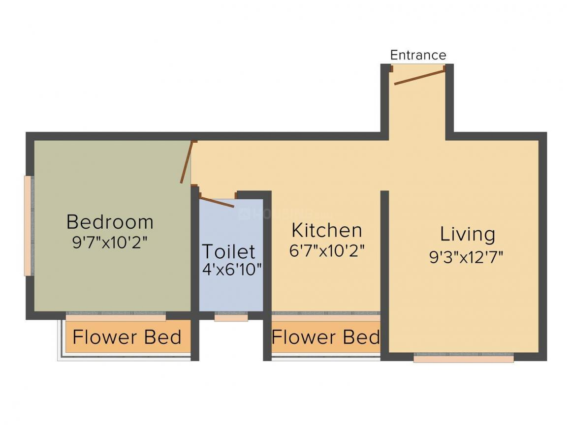 Floor Plan Image of 480.0 - 620.0 Sq.ft 1 RK Apartment for buy in VPS Shanti Park