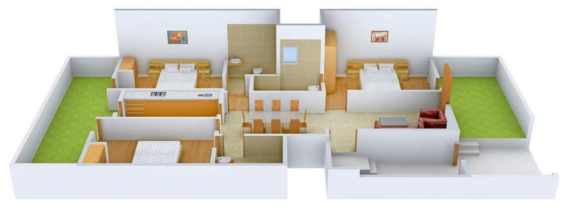 Archit 1648A Floor Plan: 3 BHK Unit with Built up area of 1400 sq.ft 1