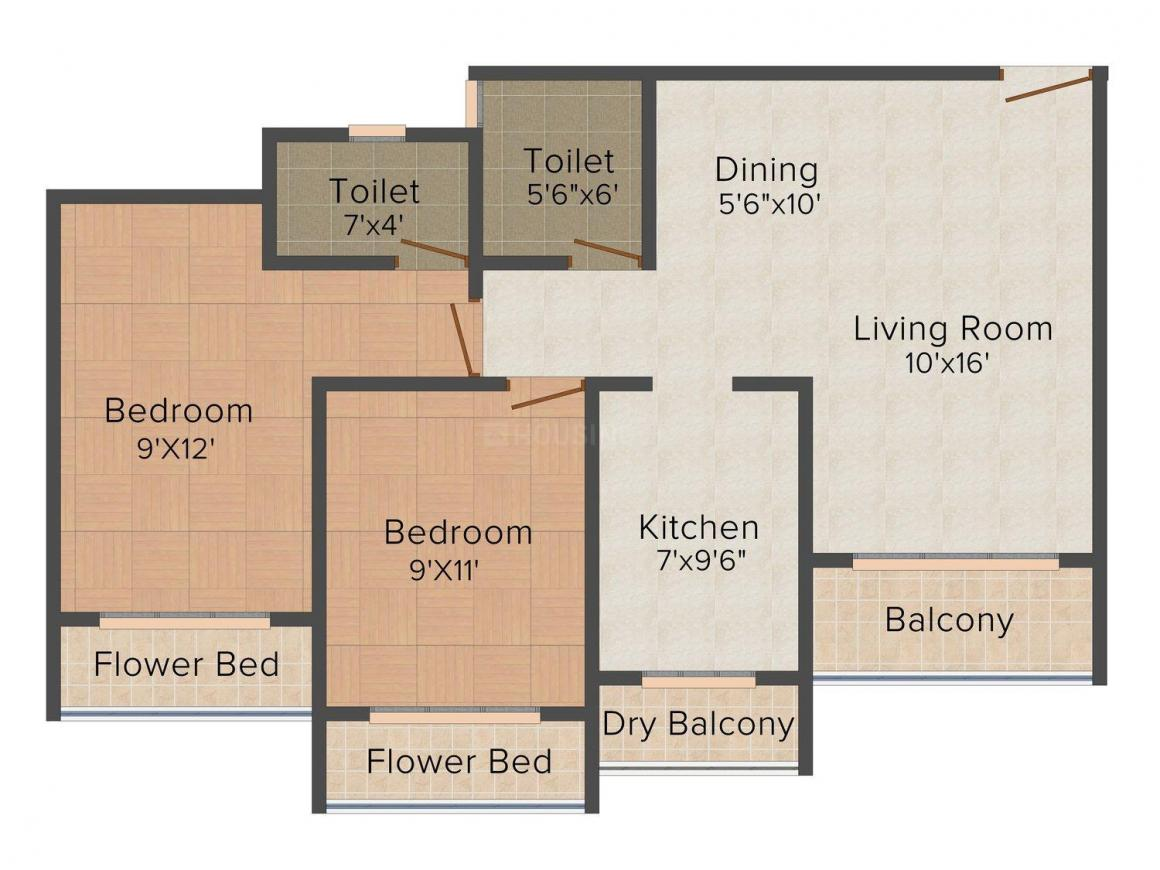 Floor Plan Image of 930.0 - 1380.0 Sq.ft 2 BHK Apartment for buy in Surya Orchid