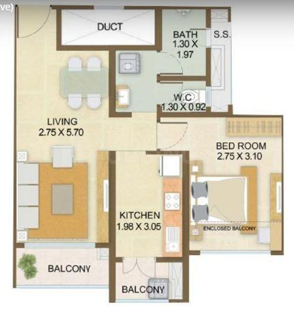 Indiabulls Park Floor Plan: 1 BHK Unit with Built up area of 557 sq.ft 1