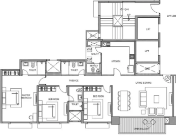 Hiranandani Selene Floor Plan: 3 BHK Unit with Built up area of 1504 sq.ft 1