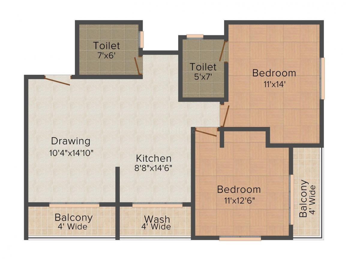 DCNPL Hills Vistaa Floor Plan: 2 BHK Unit with Built up area of 1190 sq.ft 1