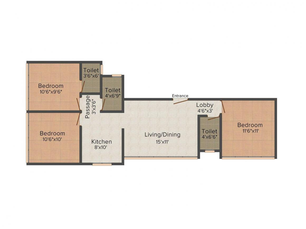 Floor Plan Image of 520 - 644 Sq.ft 2 BHK Apartment for buy in Ossia Nityanand CHS