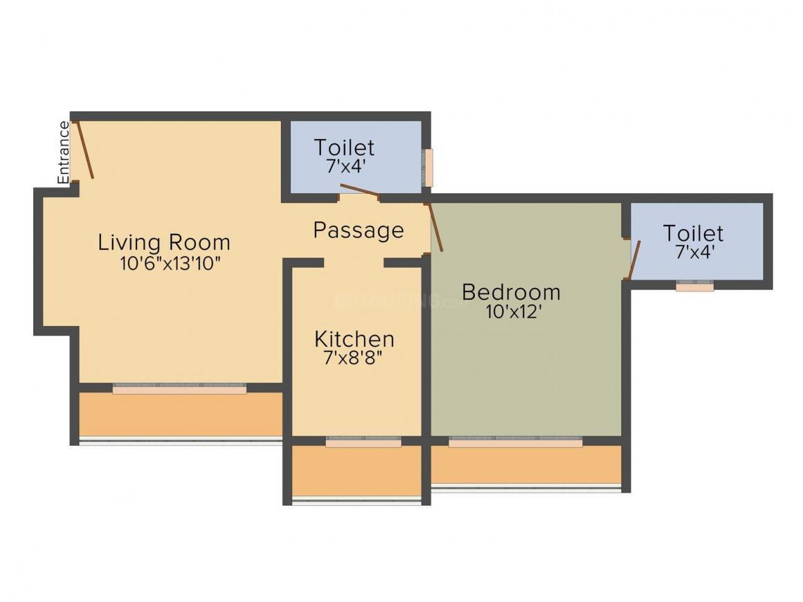 Floor Plan Image of 496.0 - 680.0 Sq.ft 1 BHK Apartment for buy in Satyadeep Shree Sandesh Heights