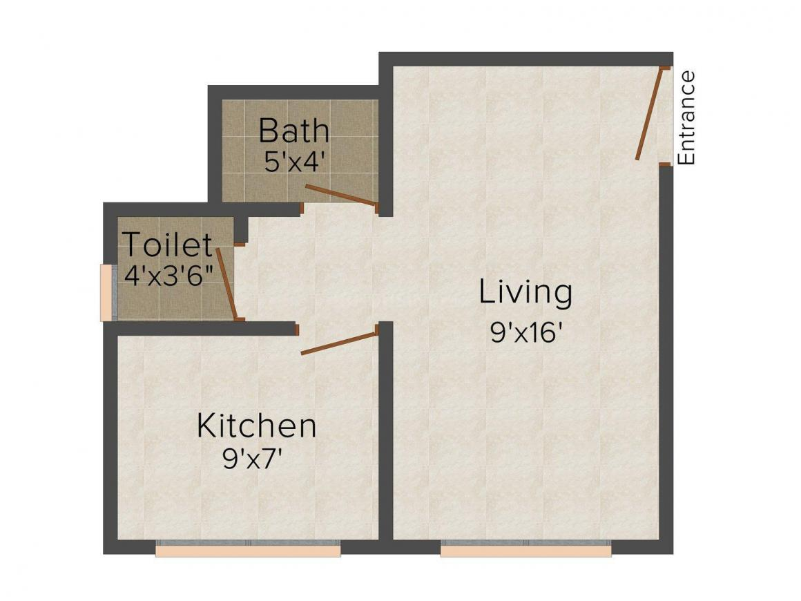 Floor Plan Image of 380.0 - 500.0 Sq.ft 1 RK Apartment for buy in Shree Mahalaxmi Complex