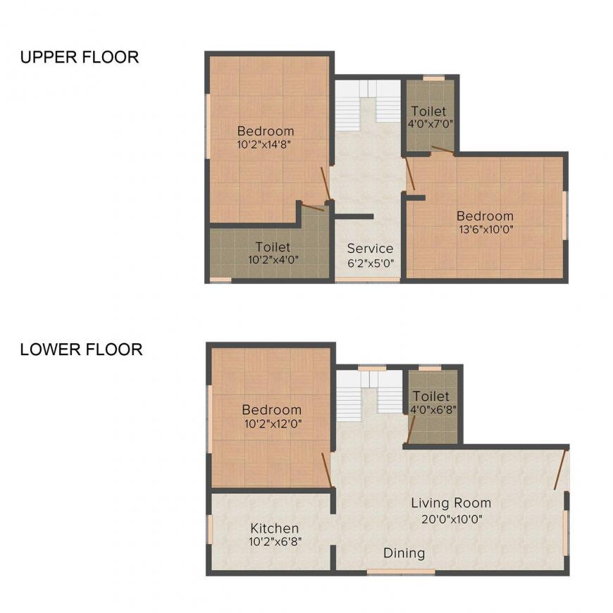 Floor Plan Image of 0 - 1289.0 Sq.ft 3 BHK Apartment for buy in VSB Mangadu Villa