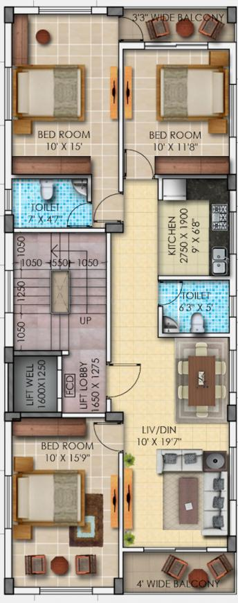 Dev HIG Project Floor Plan: 3 BHK Unit with Built up area of 1050 sq.ft 1