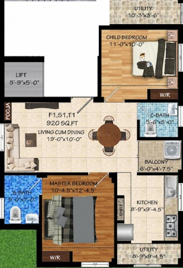 Vasiyam Prime Floor Plan: 2 BHK Unit with Built up area of 920 sq.ft 1