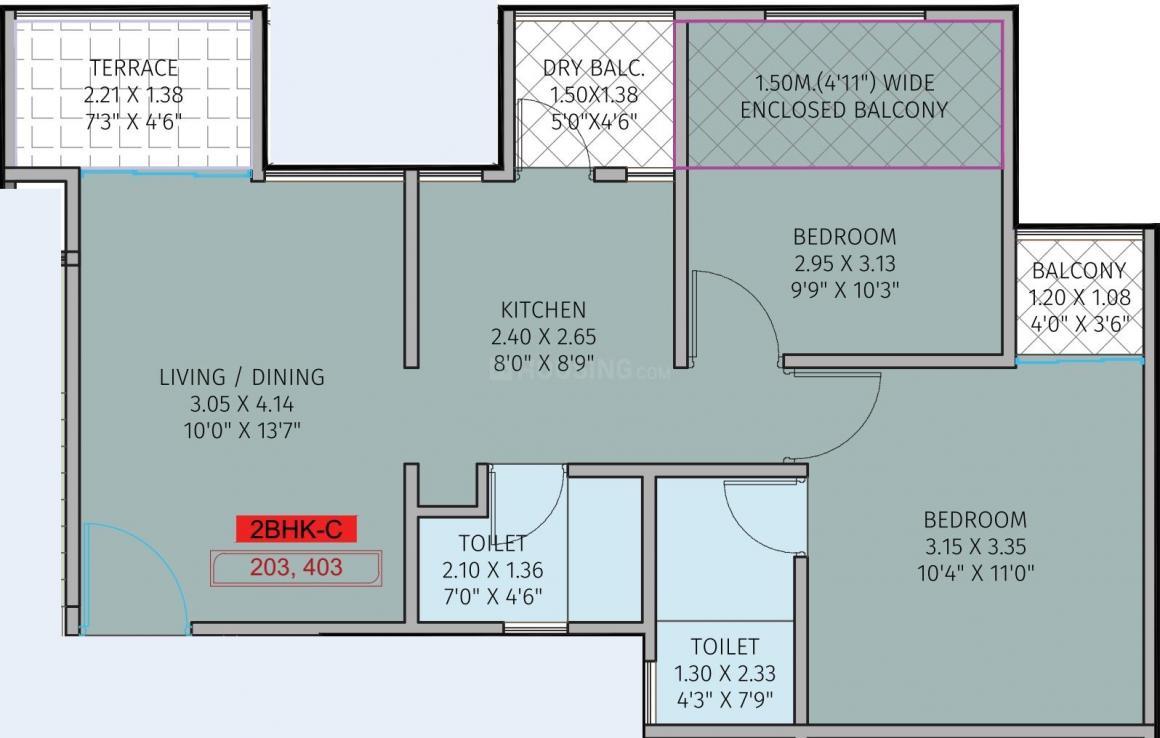 Jhamtani Ace Aurum III Tower 03 Floor Plan: 2 BHK Unit with Built up area of 525 sq.ft 1