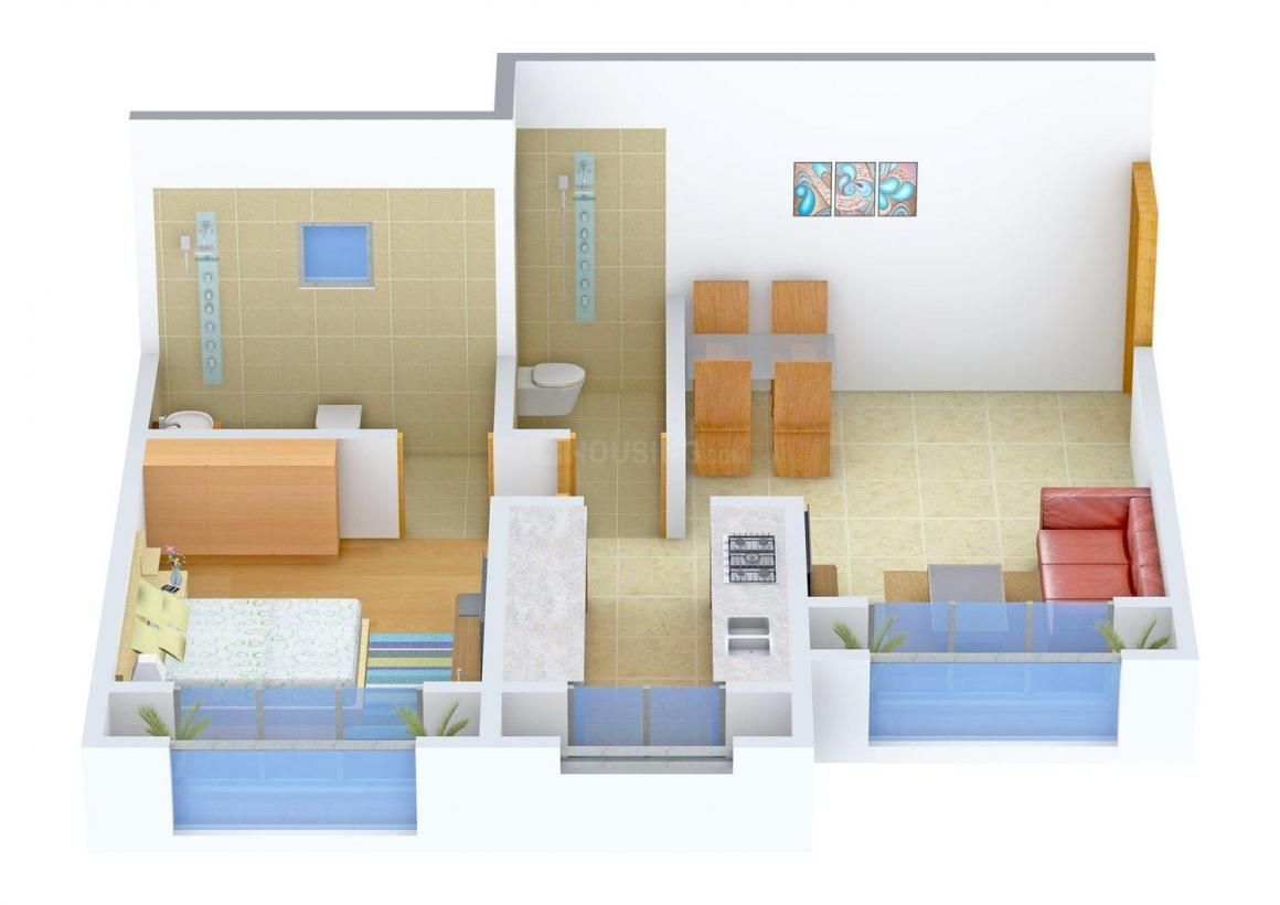 Floor Plan Image of 690.0 - 890.0 Sq.ft 1 BHK Apartment for buy in Sonal Uday