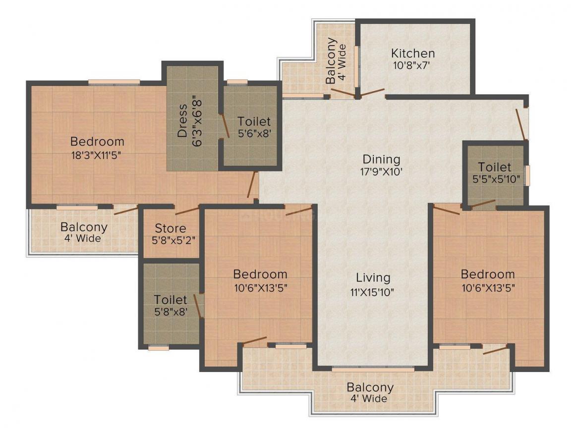 Floor Plan Image of 992 - 1577 Sq.ft 2 BHK Apartment for buy in Kanha Shyam Residency