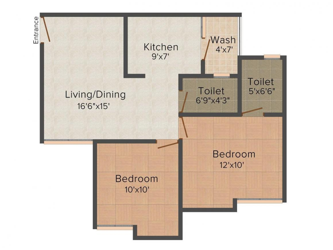 Yash Arian Floor Plan: 2 BHK Unit with Built up area of 933 sq.ft 1