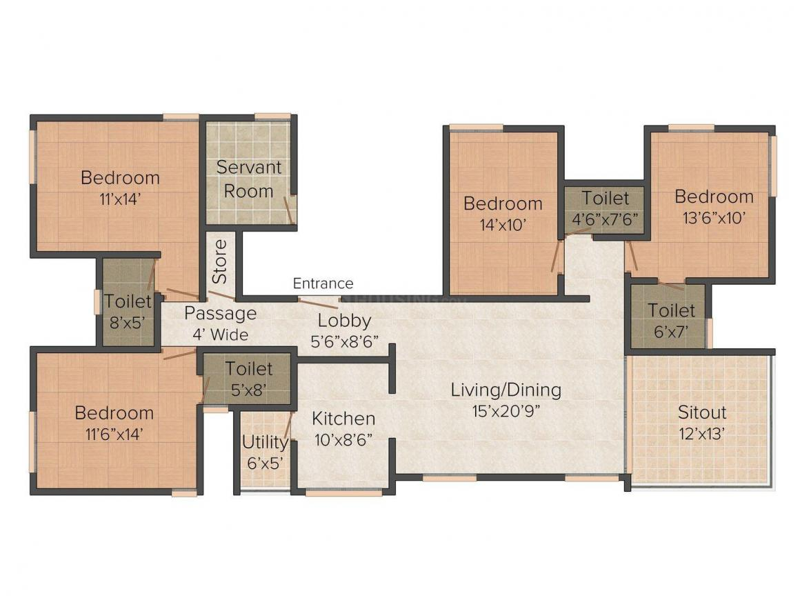 Shreyas August Floor Plan: 4 BHK Unit with Built up area of 1644 sq.ft 1