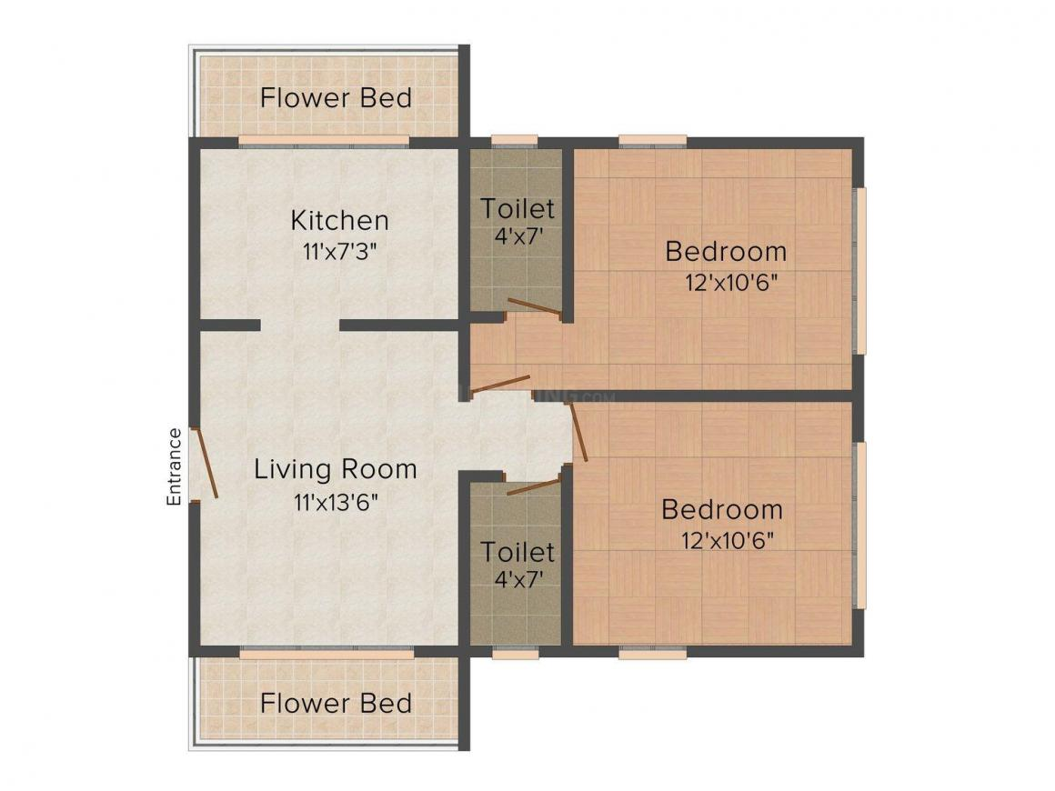 Floor Plan Image of 0 - 640.0 Sq.ft 2 BHK Apartment for buy in Aum Shyam Iconic Tower