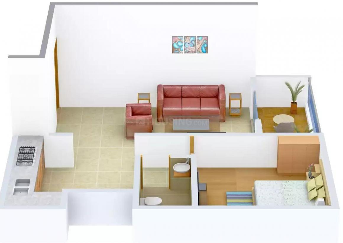 Floor Plan Image of 605.0 - 980.0 Sq.ft 1 BHK Apartment for buy in Krrish Gokuldham