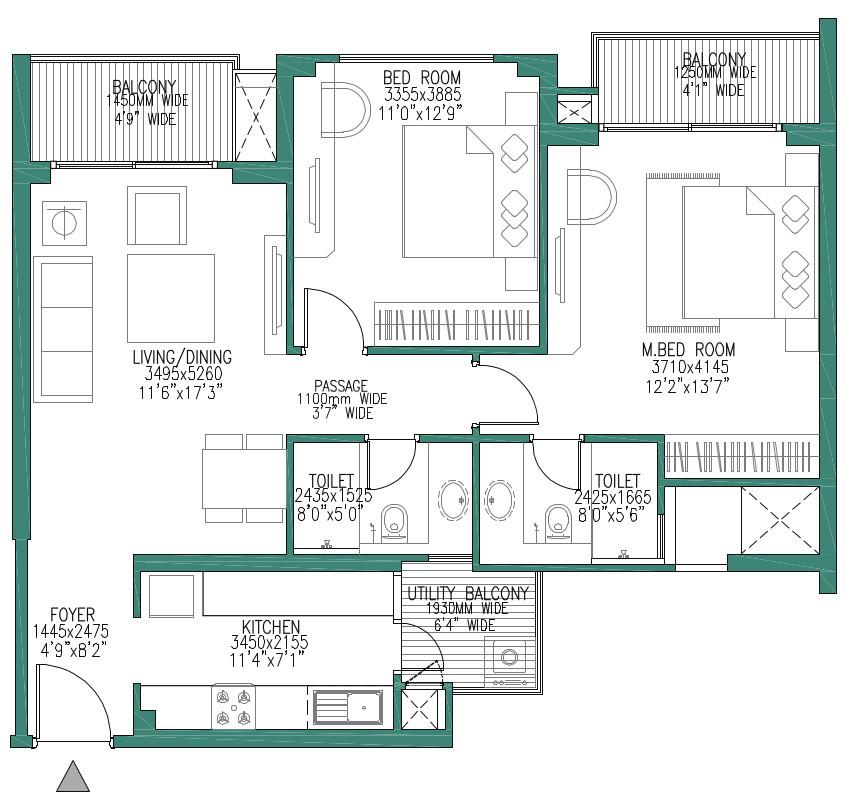 Godrej Woods Phase 1 Floor Plan: 2 BHK Unit with Built up area of 1255 sq.ft 1