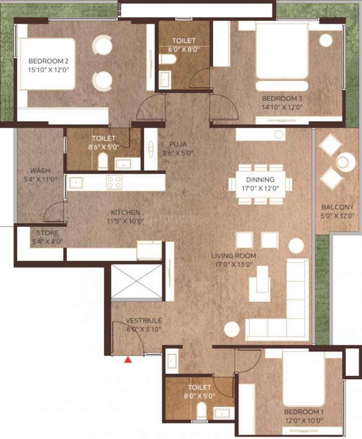 Dhanani Malbar Prime Floor Plan: 3 BHK Unit with Built up area of 1326 sq.ft 1