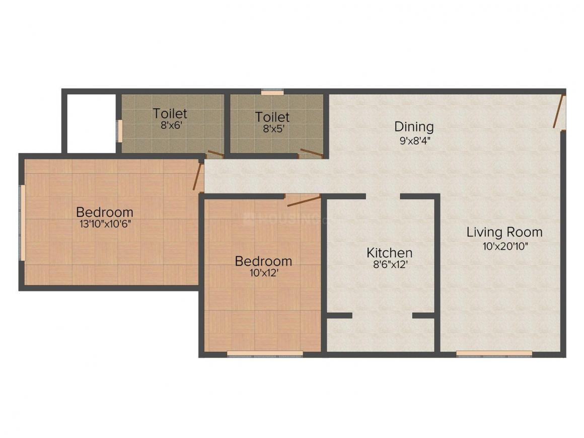 Floor Plan Image of 662 - 1400 Sq.ft 2 BHK Apartment for buy in Christina